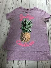 """PURPLE """"PINEAPPLE PRINT"""" GIRLS JUICY COUTURE T-SHIRT Size W/ LARGE FREE SHIPPING"""
