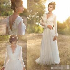 Lace Chiffon V Neck A-line Wedding Dresses