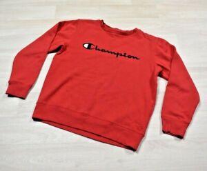 Champion Red Crew Neck Sweatshirt Spellout Youth Size Medium (Womens)