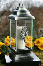 Grablaterne Grablampe Grableuchte Silber Grabschmuck inkl. Grablicht Kerze