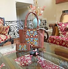 WESTERN MONTANA WEST FLORAL EMBROIDERY RHINESTONE CONCEALED CARRY HANDBAG+WALLET