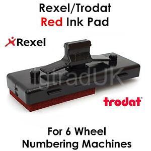1 X RED INK PAD FOR REXEL UN12/15 TRODAT 5746/5756 6 WHEEL NUMBERING MACHINES