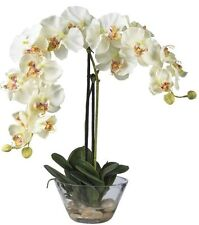 Nearly Natural Phalaenopsis w/Glass Vase Silk Flower Arrangement 4643-WH White