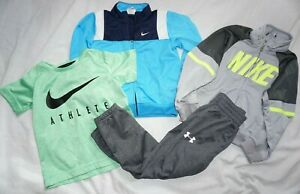 Toddler Boys Lot (4) NIKE & UNDER ARMOUR Joggers, Track Jackets & Shirt Sz 4