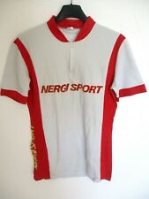 Maillot cycliste NERGI SPORT années 80 vintage shirt cycling gris M
