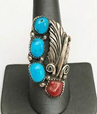 Vintage Frances BEGAY Navajo Native American Sterling Turquoise Coral Ring Sz 9