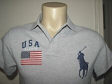 $125 Custom Fit (XXL) POLO-RALPH LAUREN Gray Mesh BIG PONY/ USA FLAG Polo Shirt