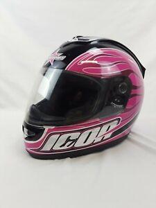 Icon Motorsports Women's Mainframe Hooligan Full-Face Helmet - Pink & Black (M)