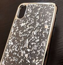 For Apple iPhone X - Hard TPU Rubber Gel Case Cover Silver Chrome Foil Blings