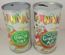 2 Different Vintage Steel Carnival Soda 1 Pull Tab & 1Flat Top Cans.