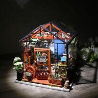 ROBOTIME DIY Miniature Dollhouse Kits Green House Wooden Furniture Model Kits