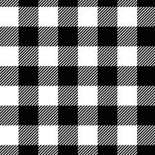 "BTY* NEW*BLACK & WHITE BUFFALO CHECK 1"" PLAID COTTON FLANNEL FABRIC  1 YD 42X36"""