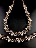 CROWN TRIFARI GOLD-TONE CRYSTAL RHINESTONE SWIRL COLLAR NECKLACE BRACELET SET