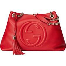 Gucci 5694 Womens Soho Red Leather Tote Shoulder Handbag Purse Large BHFO