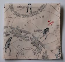 Cotton pocket square handkerchief Retro Aeroplanes. Hand rolled 30cm Hand made.