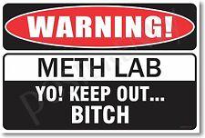 Warning Meth Lab - NEW Novelty Humor Poster (hu235)