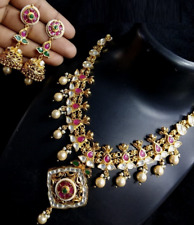 Traditional Golden Kundan Necklace, Red Meenakari Necklace with Pearls