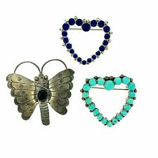 Lapis Hearts and Butterfly Pins Trio Sterling Silver Native American Turquoise