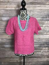 Land's End Women's Size 4 Petite Pink 100% Linen Top Short Sleeve