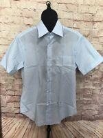 Sears Perma Prest Shirt Vtg Short Sleeve Dress Light Blue Mens Sz 15.5 NWOT
