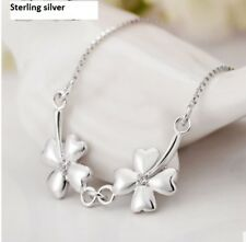 Solid S925 sterling silver 4 Leaves Clover Chocker Chain Necklace. USA seller