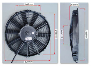"""PWR 12"""" SPAL Thermo Fan Straight Blade Pusher 1009cfm PWAC12STP"""