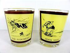 Gary Patterson 2 Cocktail Glasses Hook Shot Judgement Golf Humor Barware 80s