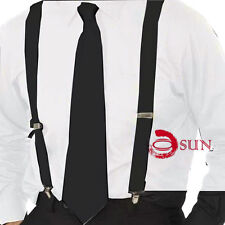New Black Men Women Neck Tie and Braces Elastic Adjustable Suspenders Wedding