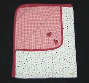 VTG Gymboree 2000 Red Ladybug Gingham Floral Baby Blanket Country Picnic