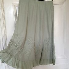 Autograph Light Green Linen Appliqué Ruffled Hem Skirt Size 10 BNWOT