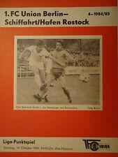 Programm 1984/85 Union Berlin - SH Rostock