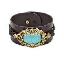 Patricia Nash Womens Leather Cuff Bracelet Turquoise Magnesite Lucinda $59 #2