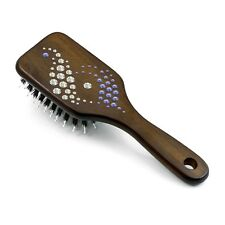 """Wooden Hair Brush HBMB-22.11 created with Swarovski® """"Ying and Yang Purple"""""""
