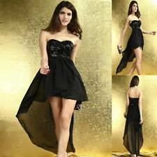 Sexy Black Sequins High Low Cocktail Club Dance Party Formal Chic Dress Sz 10 12