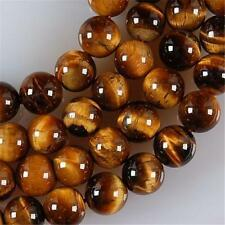 "8mm Natural African Roar Yellow Tiger's Eye Round Gemstone Loose Beads 15""AAA"