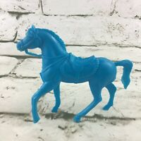 "Vintage Horse Figure Solid Blue Hollow Plastic Collectible 4"" Toy Animal"