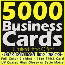5000 Business Cards Full Color 2 Side Printing UV Coated-Free Design-Shipping