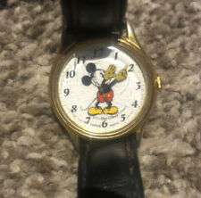 Vintage Lorus Gold Tone Mickey Mouse Moving Hands Watch - New Battery