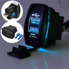 Dual USB 3.1 Power Charger Carling ARB Rocker Switch Blue LED Light Car Boat 12V