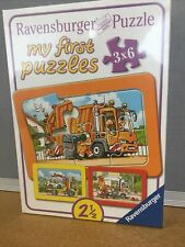 Ravensburger My First Puzzles 3x6 Pieces Garbage Disposal,Ambulance,Tow Truck
