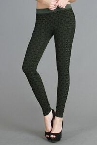 Beehive Pattern Two Tone High Quality Leggings In Dark Olive