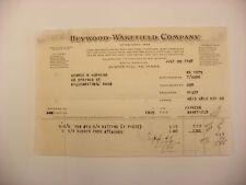 Vtg Letterhead - Heywood-Wakefield Winter Hill Mass MA 1927