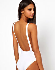 Faulty Womens White Backless Cut out Stretch Bodysuit Party Leotard Bralet Top 8 8