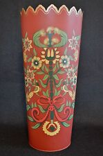 Tall Round Painted Red Tin Bucket Container with Yellow and Green Flower Design