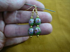 flower Cloisonne gold oval dangle Earrings (ee614-11) 9x12 mm Medium Green pink