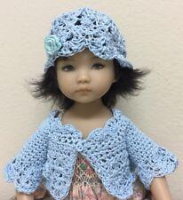 "*Crocheted ""Baby Blue ""Sweater Shrug& Hat ~ For Effner Little Darling Or Similar"