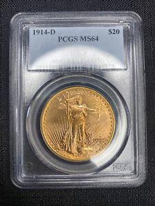 1914-D $20 ST GAUDENS GOLD - PCGS MS-64