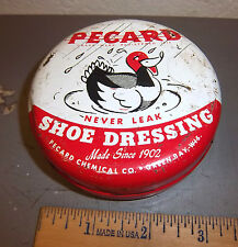 Vintage Pecard Shoe Dressing Tin, partially full still, great graphics & colors