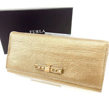 Furla Wallet Purse Long Wallet Gold Woman Authentic Used F677