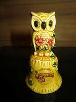 Vintage MCM Opryland Souvenir Ceramic Owl Bell Mustard Gold Owl Nashville TN